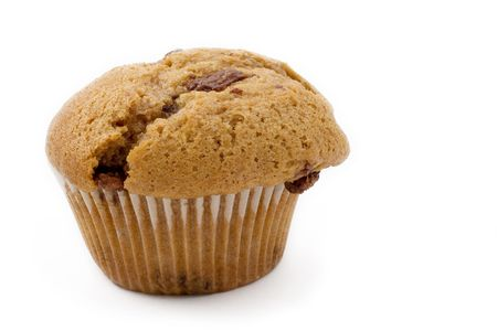misshapen: A single Caramel Chip muffin on a white background - deformed