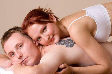 Girl lying on the back of her boyfriend Stock Photo - 232317