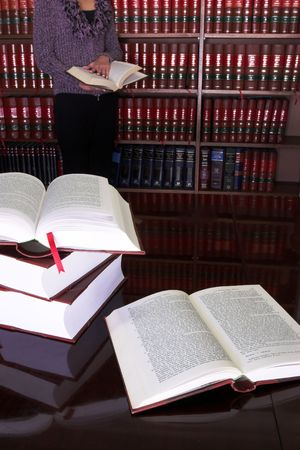 Legal books on table - South African Law Reports, Intern doing research Stock Photo