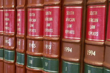 Legal Library in wooden bookcase - South African Law Reports Stock Photo - 233176
