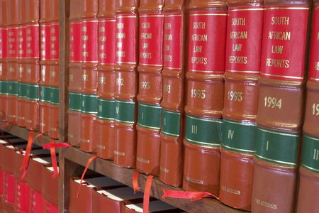 Legal Library in wooden bookcase - South African Law Reports Stock Photo - 233182
