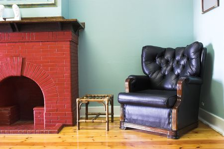 redbrick: Leather seat in Legal office waiting area