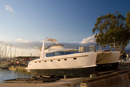 drydock: Catamaran in Drydock - Gordonsbay, South Africa