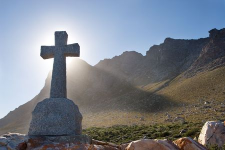 underbrush: Grave next to the sea - Gordons bay, South Africa Stock Photo