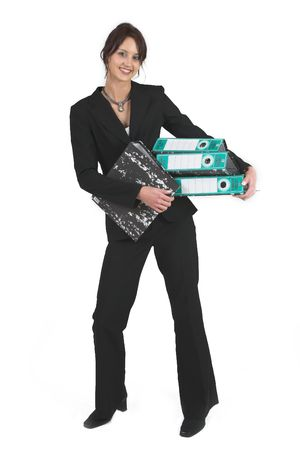 lever: Business woman with black Lever Arch Files Stock Photo