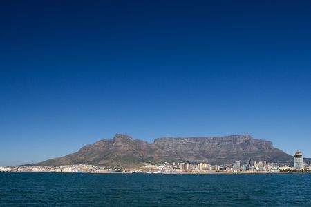 Table mountain and the VA waterfornt - Cape Town, South Africa Stock Photo