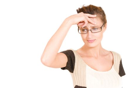 Business woman with glasses looking worried holing her head