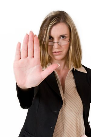 str: Business woman in black suit holing up hand Stock Photo