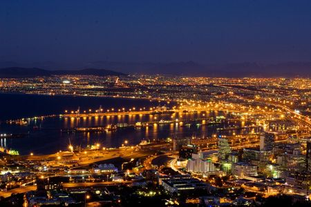 Veiw at night of Cape Town, South Africa Stock Photo