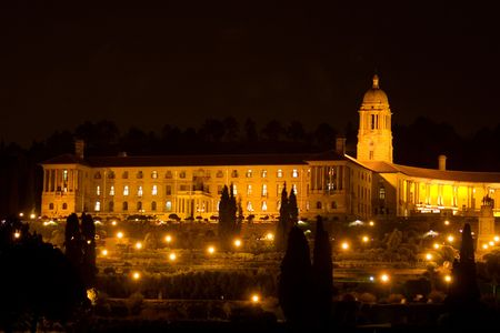 Unionbuildings in Pretoria, South Africa at night time - copy space photo