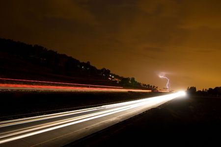 highway and lightning photo
