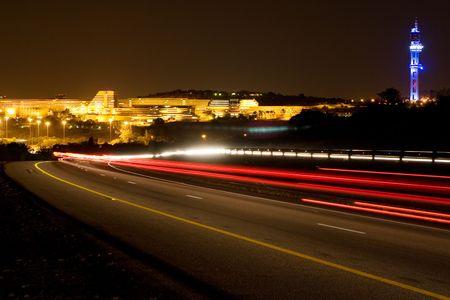 africa sunset: Costruzione di Universit� del Sud Africa a Pretoria, Sud Africa durante la notte tempo  Archivio Fotografico