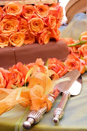 interiour: Table with cake, and cakel ifter and cake knife