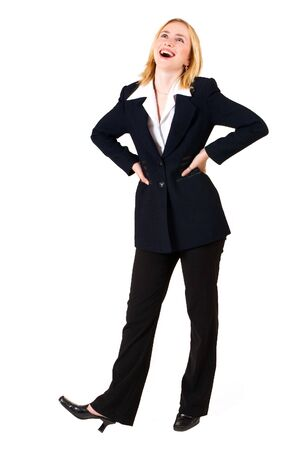 satisfy: Business woman in formal black suit, looking up with hands on hips