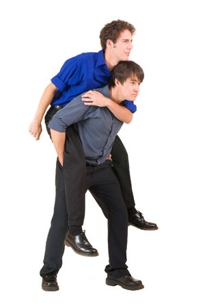human's arm: Two business partners, the one is piggybacking the other