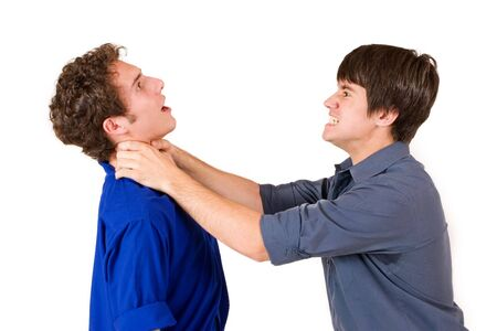strangling: Two business partners, one strangling the other one