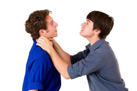 strangling: Two business partners, one strangling the other