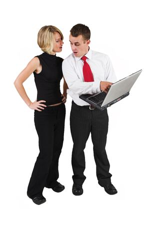ethic: Two business partners talking, man holding laptop Stock Photo