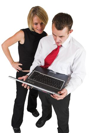 ethic: Two business partners, working on laptop Stock Photo