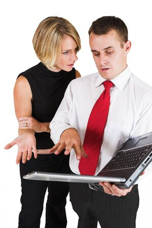 ethic: Two business partners working on laptop