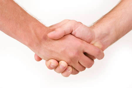 ethic: Two business partners shaking hands - close up, copy space
