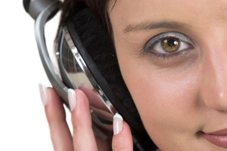 Close-up of woman with headset on her head - shallow DOF photo