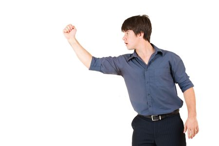 Businessman in blue shirt, showing a fist photo