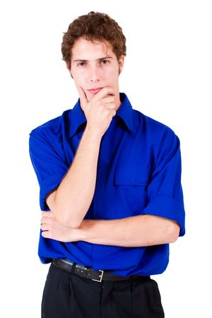 Businessman in blue shirt, thinking