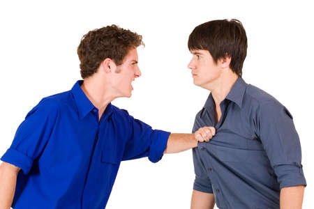 str: Two business partners fighting Stock Photo