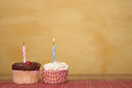 negative area: two cupcakes on pink and brown table cloth in front of  wall - copy space