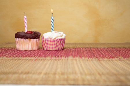 two cupcakes on pink and brown table cloth in front of  wall - copy space