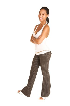 pinstripe: African business woman dressed in white top and pinstripe pants Stock Photo