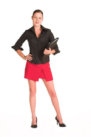 Business woman dressed in a black shirt and red skirt.  Holding a file photo