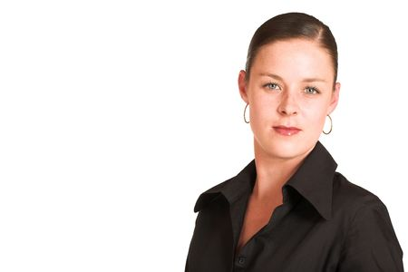 Business woman dressed in a black shirt.  Copy space photo