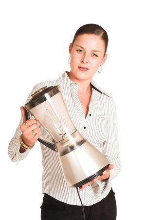 office appliances: Business woman dressed in a white pinstripe shirt. Holding a blender