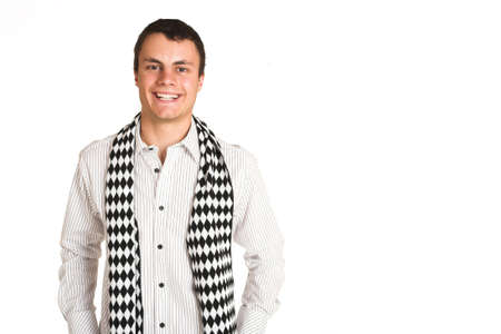 blak white: Man with white pinstripe shirt and scarf with bottled water in hand. Copy space