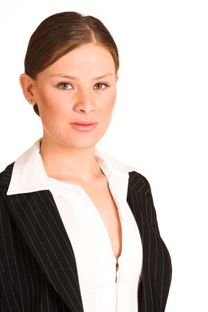 pinstripe: Business woman dressed in a pinstripe suit.