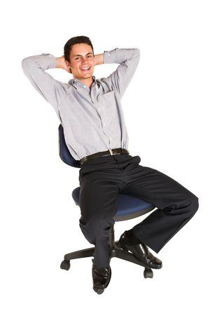 mascular: Businessman relaxing on an office chair