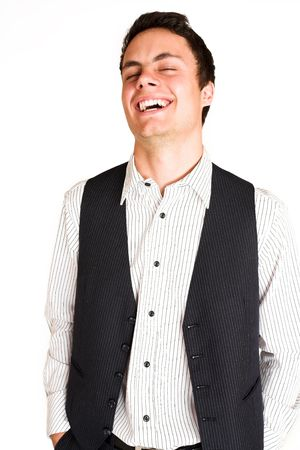 mascular: Businessman standing with hands in his pocket.  Laughin.  eyes closed Stock Photo