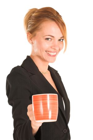 Blonde business lady in formal black suit. Holding a cup.  Shallow DOF, mug out of focus, face in focus.
