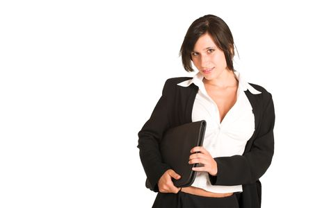 Business woman dressed in a pencil skirt and jacket.  Holding a file.  Copy space photo