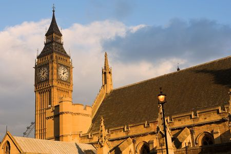 bigben: The buildings of the House of Parliament and Bigben - Sunset Stock Photo