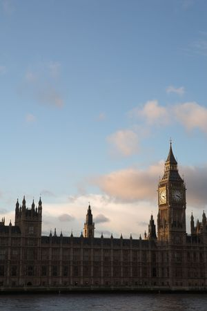 The buildings of the House of Parliament and Big Ben - Copy Space photo