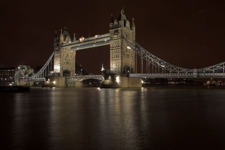 steelwork: The bascule Tower bridge in London, Night Scene over the Thames