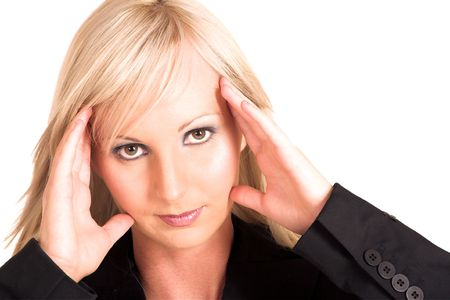 Blond business woman dressed in  a black shirt. Holding her head - headache.  Copy Space Stock Photo - 311307