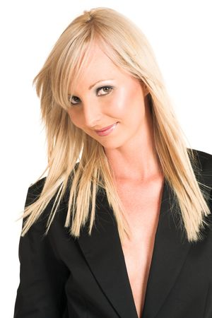 Blond business woman dressed in a black shirt.  Portrait. photo