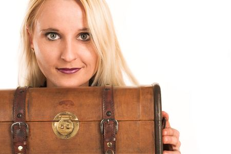 Blond business woman,peeking over a vintage suitcase photo