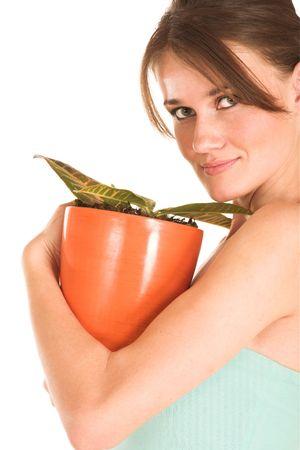 Brunette business woman in  an informal light blue shirt.  Holding pot plant. Stock Photo - 327544