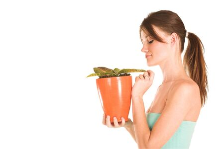 brunette business lady in a light blue top nurturing a pot plant. Looking down -  Copy space. photo