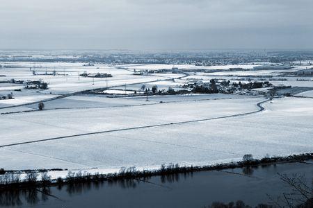 Landscape of Donau river in Kirchberg, Germany.  Blue tone. photo